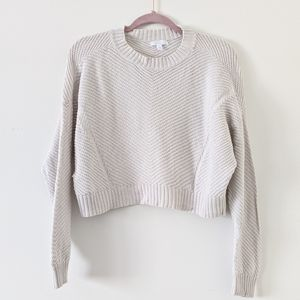 Abound Cropped Cream Knit Sweater XS